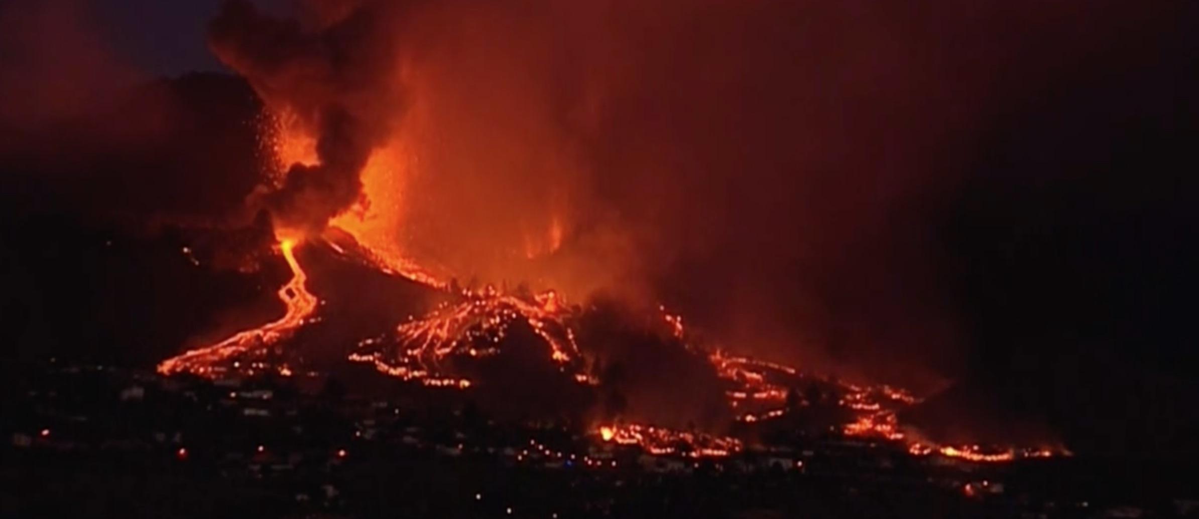 Volcan en erupción en La Palma